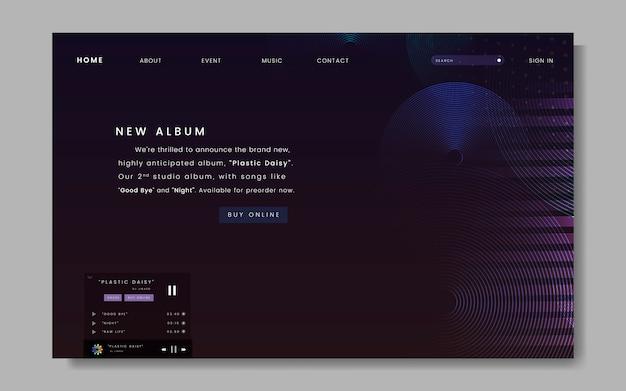 Album design del sito web di rilascio