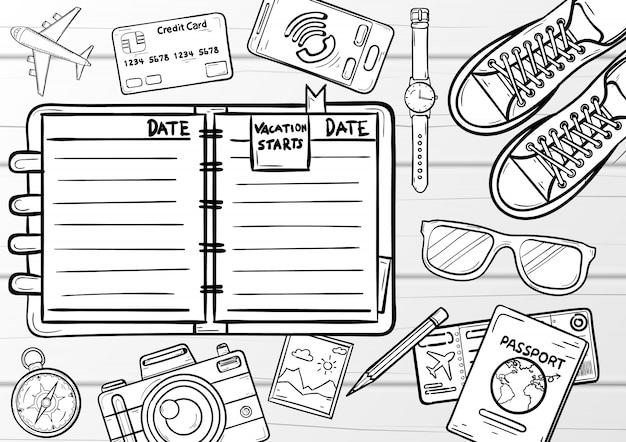 Album doodle scrapbooking, notebook con elementi di viaggio e accessori