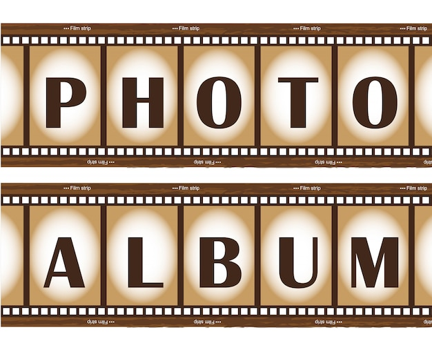 Album fotografico con due vecchie strisce di pellicola
