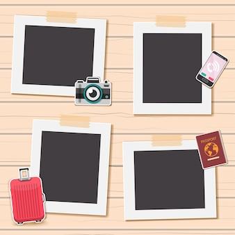Album fotografico con elementi di viaggio.