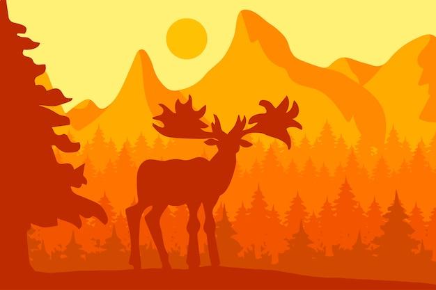 Alci nella foresta di conifere del mattino