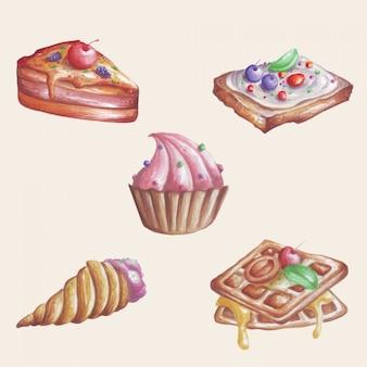 Alcuni dessert sembrano dolci in un'illustrazione dell'acquerello.