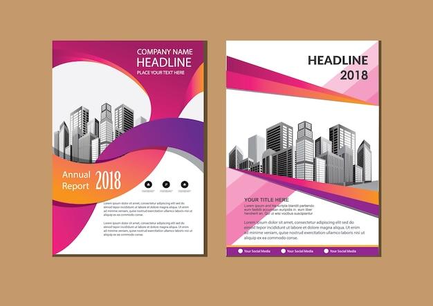 Aletta di filatoio del manifesto di rapporto annuale della disposizione dell'opuscolo con forma geometrica