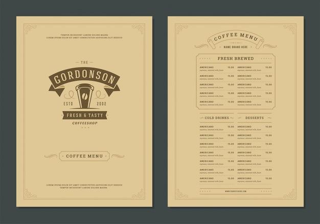 Aletta di filatoio del modello di progettazione del menu del caffè per il bar o il caffè con il simbolo della tazza di logo del negozio dell'offee.