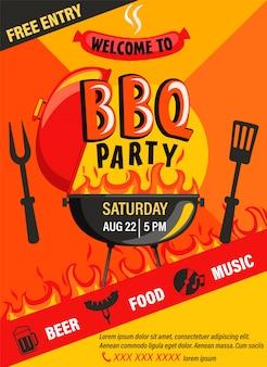 Aletta di filatoio dell'invito del partito del bbq evento di cookout di fine settimana del barbecue di estate con birra, cibo, musica modello di progettazione