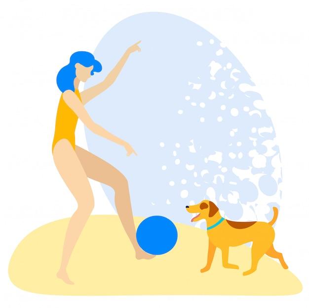 Aletta di filatoio informativo che gioca sulla spiaggia con il cane piano.
