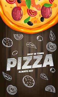 Aletta di filatoio verticale italiana della pizzeria della pizza con gli ingredienti e il testo, vista superiore degli alimenti a rapida preparazione