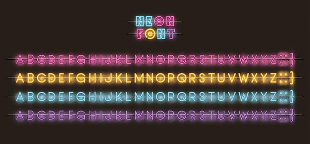 Alfabeti caratteri luci al neon