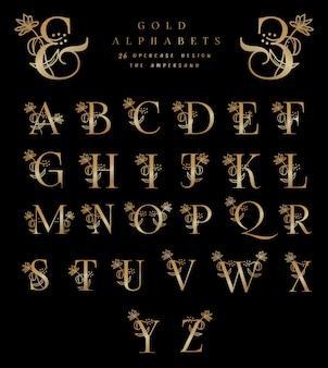 Alfabeti d'oro 26 disegni maiuscoli l'e commerciale