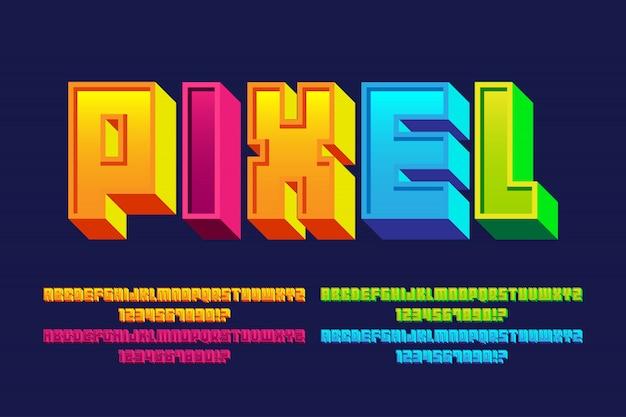Alfabeti di font pixel con 4 effetti di stile