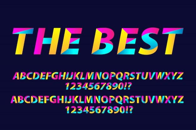 Alfabeti di font tipografia colorati