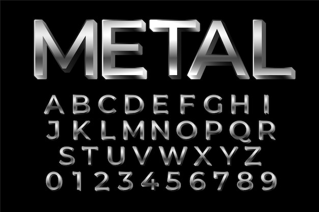 Alfabeti e numeri metallici di effetto del testo 3d