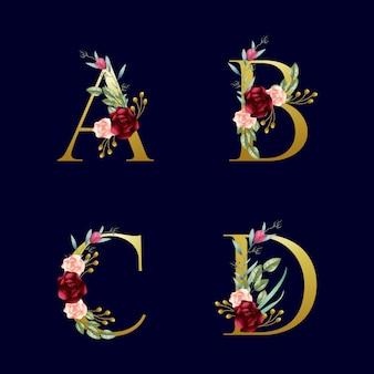Alfabeti floreali dorati bordeaux e arrossiti