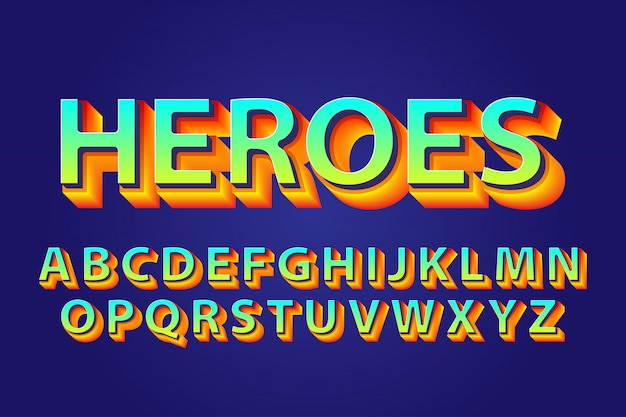 Alfabeti grassetto heroes