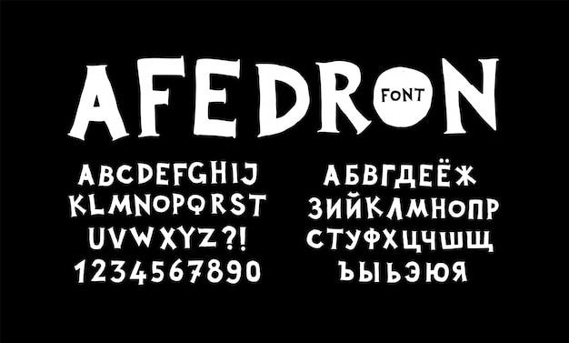 Alfabeti inglese e russo.