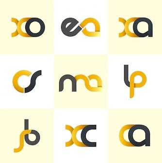 Alfabeti iniziali logo design nero e giallo