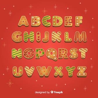 Alfabeti natalizi con stile cookie