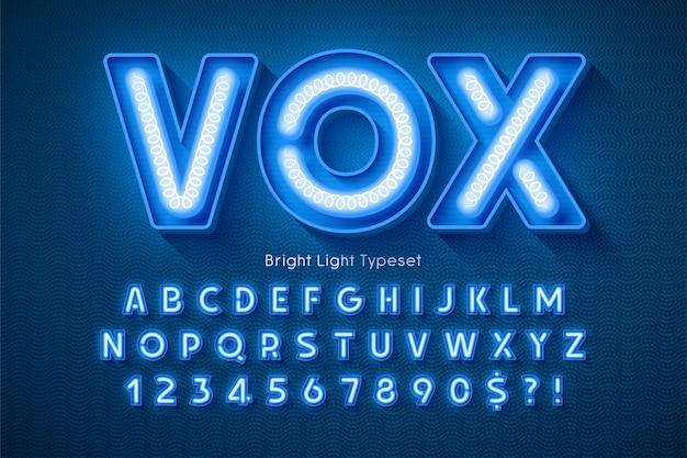Alfabeto 3d a luce al neon, tipo moderno extra luminoso.