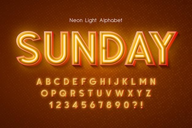 Alfabeto 3d di luce al neon, carattere extra incandescente.