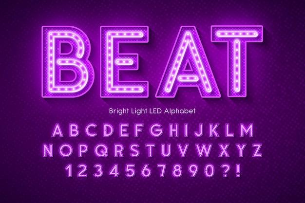 Alfabeto 3d di luce al neon, carattere moderno extra luminoso.