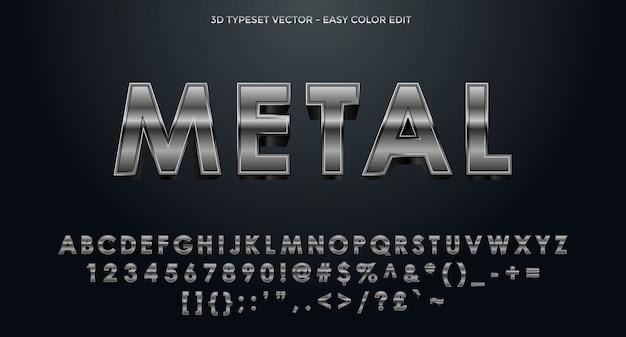 Alfabeto 3d in metallo completato con numeri e simboli
