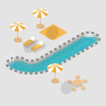 Alfabeto 3d isometrico della piscina j