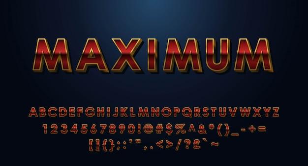 Alfabeto 3d massimo completato con numeri e simboli