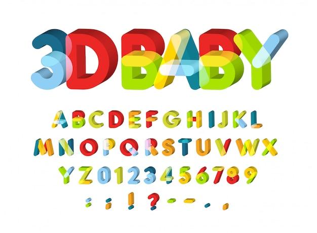 Alfabeto 3d per la decorazione della baby zone.