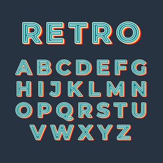 Alfabeto 3d stile retrò
