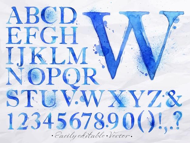 Alfabeto acquerello blu