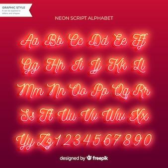 Alfabeto al neon