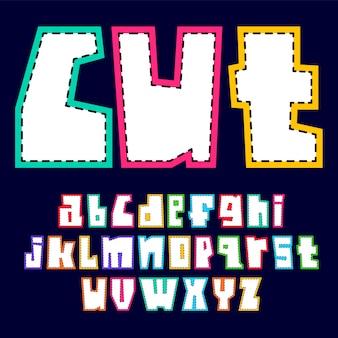 Alfabeto alla moda, lettere bianche di vettore