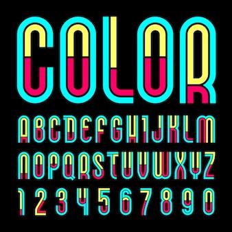 Alfabeto alla moda su un nero