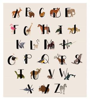 Alfabeto animale carino impostato per i bambini