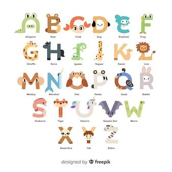 Alfabeto animale con illustrazioni carine