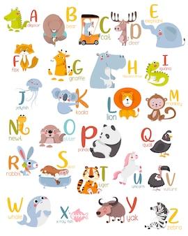 Alfabeto animale grafico dalla a alla z.