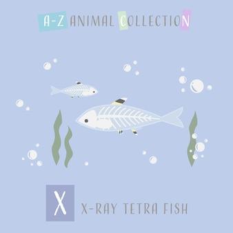 Alfabeto animale x di scarabocchio del fumetto del pesce tretino sveglio di x