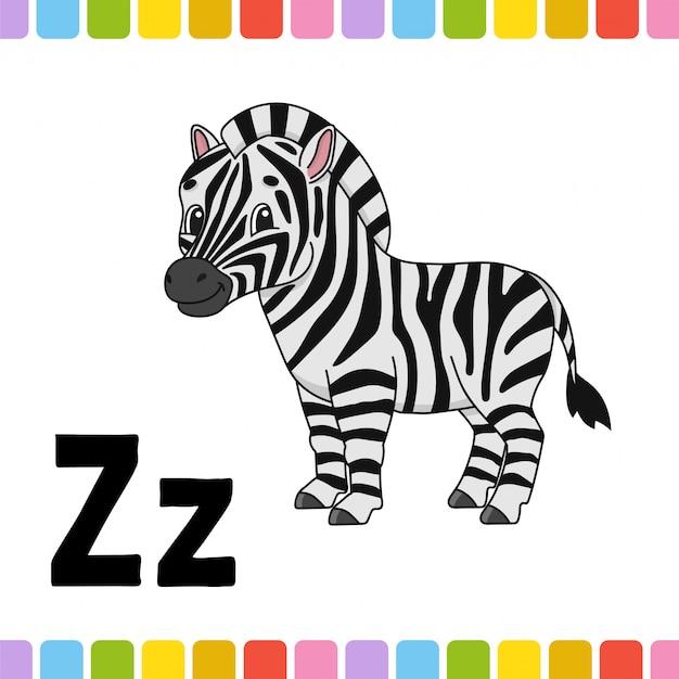 Alfabeto animale. zoo abc. animali svegli del fumetto su fondo bianco.