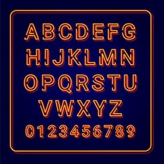 Alfabeto arancione lampada al neon