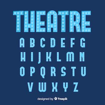 Alfabeto blu della lampadina del teatro