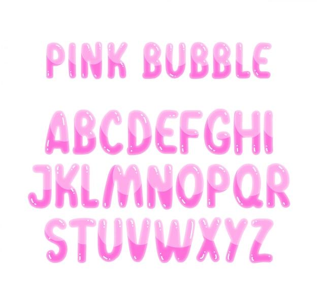 Alfabeto bolle rosa carino