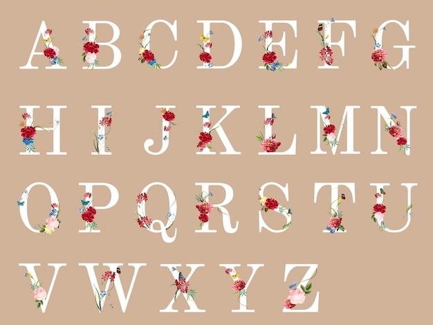 Alfabeto botanico con illustrazione di fiori tropicali