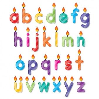 Alfabeto candele a forma di compleanno
