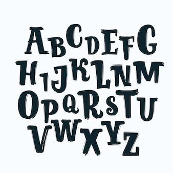 Alfabeto capitale disegnato a mano in colore nero. carattere di lastra di calligrafia. pennello moderno. carattere tipografico marcatore alfabeto in stile grunge.