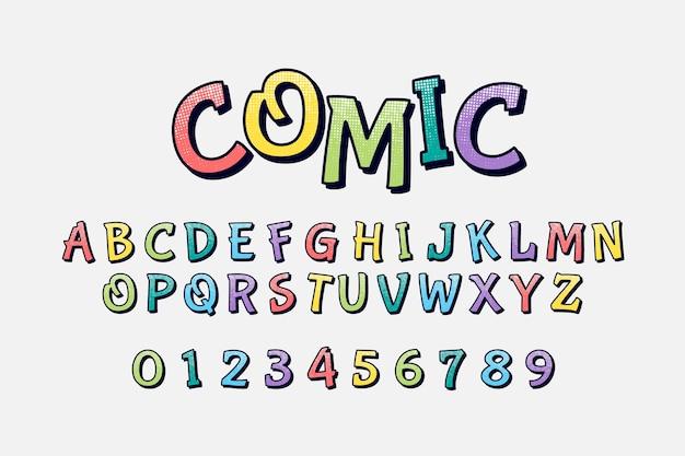 Alfabeto comico 3d colorato
