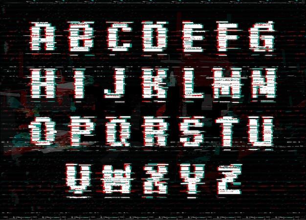 Alfabeto con effetto glitch e rumore.