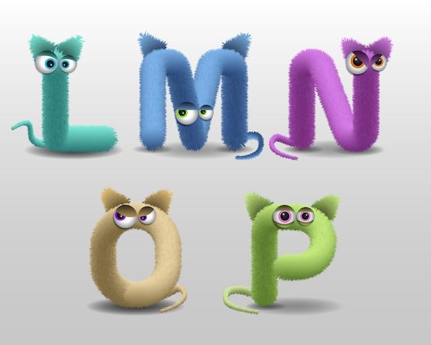 Alfabeto con simpatico personaggio di mostro di pelliccia