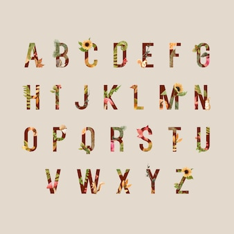 Alfabeto con tema autunnale