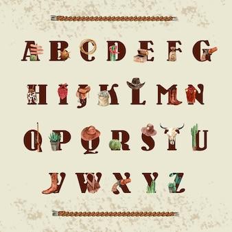 Alfabeto da cowboy con attrezzatura da cowboy, attrezzatura, cactus