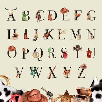Alfabeto da cowboy con teschio di mucca, cactus, soldi, pistola